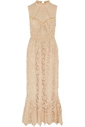 Anna Sui Romantique Ruffled Crochet Lace Maxi Dress Cream
