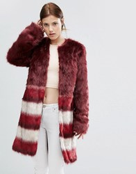 Urbancode Faux Fur Coat With Border Stripes Burgandy Red