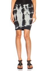 Pam And Gela Asymmetric Mini Cotton Blend Skirt In Gray Black Ombre And Tie Dye