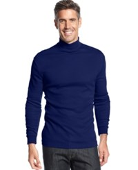 John Ashford Big And Tall Long Sleeve Mock Neck Solid Interlock Shirt Navy Blue