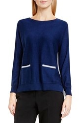 Vince Camuto Women's Colorblock Boatneck Cotton Blend Sweater Naval Navy