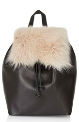 Topshop Shearling And Leather Backpack