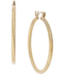 Macy's Cable Twist Hoop Earrings In 14K Gold