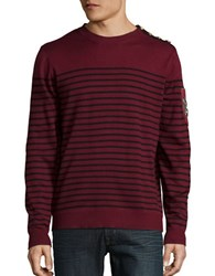 Laboratory Lt Man Cotton Blend Striped Crewneck Sweater Red