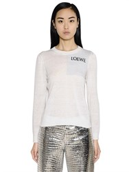 Loewe Logo Intarsia Stretch Hemp Knit Sweater