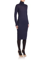 A Detacher Baby Alpaca Wool Ribbed Sheath Dress Navy