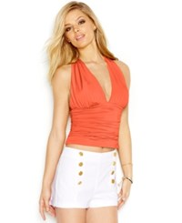 Guess Cross Back Halter Top Coral Punch