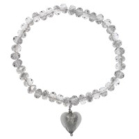 Martick Faceted Crystal Murano Heart Bracelet Grey