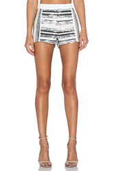 Endless Rose Embellished Striped Shorts Metallic Silver