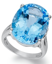 Macy's Sterling Silver Ring Blue Topaz Oval Ring 21 9 10 Ct. T.W.
