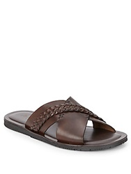 Massimo Matteo Braided Leather Slide Sandals Brown