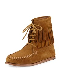 Saint Laurent Fringed Suede High Top Moccasin Bootie Tan Women's