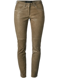 Isabel Marant Skinny Leather Trousers Brown