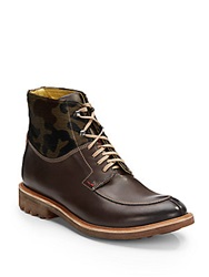 Robert Graham Emmons Leather And Calf Hair Lace Up Boots
