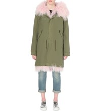Mr And Mrs Italy Shearling And Cotton Twill Parka Coat Baby Pink