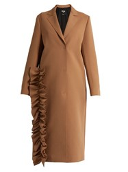 Msgm Ruffled Single Breasted Crepe Trench Coat Camel