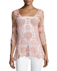 Liquid By Sioni 3 4 Sleeve Rounded V Neck Crocheted Top Dusty Pink