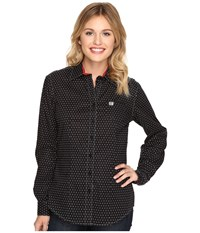 Cinch Print On Plain Weave W Stretch Black Women's Clothing