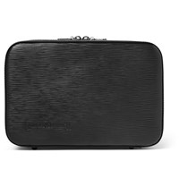 Czech And Speake Leather Wash Bag Black
