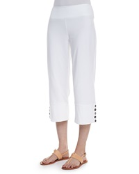 Neon Buddha Seascape Button Cuff Capri Pants White