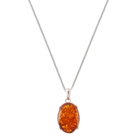 Be Jewelled Sterling Silver Cognac Amber Claw Set Pendant Necklace Orange
