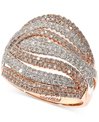 Effy Collection Effy Diamond Multi Row Ring 1 1 7 Ct. T.W. In 14K Rose Gold And 14K White Gold No Color