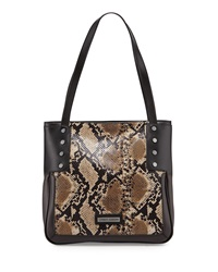 Charles Jourdan Madan Snake Print Leather Tote Bag Black Brown