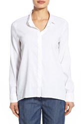 Women's Eileen Fisher Organic Linen Blend Classic Collar Shirt White