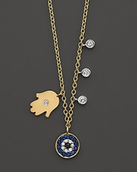 Meira T Diamond Hamsa And Evil Eye Necklace Set In 14K Yellow Gold No Color