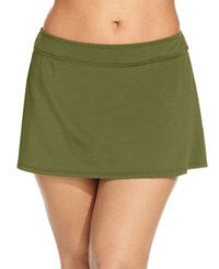 Anne Cole Plus Size Swim Skirt Women's Swimsuit Olive