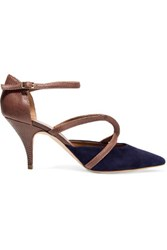 Malone Souliers Veronica Snake And Suede Pumps Navy
