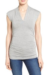 Women's Vince Camuto Side Ruched Pleat V Neck Top Light Heather Grey