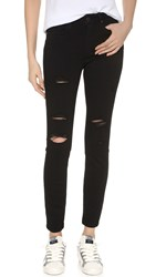 Paige Transcend Hoxton Ankle Skinny Jeans Black Shadow Destructed