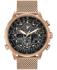 Citizen Men's Eco Drive Rose Gold Tone Ion Plated Stainless Steel Bracelet Watch 48Mm Jy8033 51E
