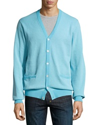 Bobby Jones Long Sleeve Birdseye Cardigan Surf Blue