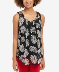 Motherhood Maternity Floral Print Sleeveless Top Black White Floral