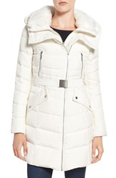 French Connection Women's Down Coat With Faux Fur Trim Winter White