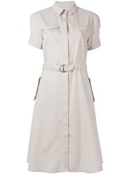Burberry Brit Belted Midi Shirt Dress Nude And Neutrals