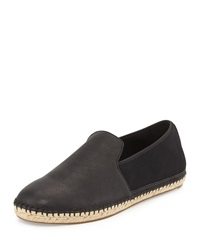 Flit Flat Leather Espadrille Flat Black Eileen Fisher