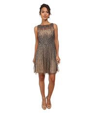 Adrianna Papell Short Sleeveless Beaded Party Dress Lead Women's Dress Gray