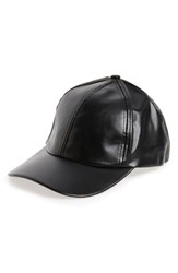 Women's Bp. Faux Leather Ball Cap Black