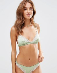 Asos Skye Satin And Lace Triangle Bra Green