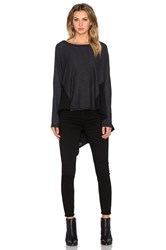 Heather Cotton And Gauze Dolman Sweater Charcoal