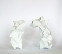 Modern Geometric White Porcelain Vase Contrmporary By Endesign