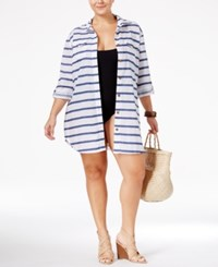 Dotti Plus Size Tulum Striped Shirtdress Cover Up Women's Swimsuit Blue White