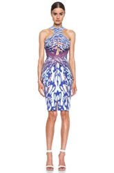 Dion Lee Oil And Water Silk Draped Dress In Purple White Ombre And Tie Dye