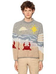 Thom Browne Beach Wool And Cotton Jacquard Sweater