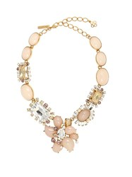 Oscar De La Renta Floral Crystal Embellished Necklace Light Pink