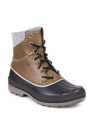 Sperry Lace Up Leather Boots Grey