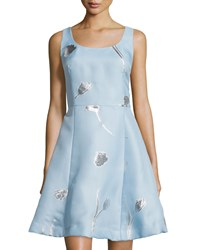 Oscar De La Renta Floral Jacquard Sleeveless Fit And Flare Dress Wedgewood